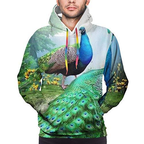 fudin Sudadera con capucha para hombre con cordón y ajuste deportivo de pavos reales paisaje bosque