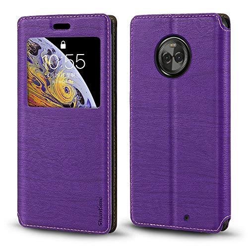 Capa para Motorola Moto X4, capa de couro de grão de madeira com porta-cartão e janela, capa flip magnética para Motorola Moto X4