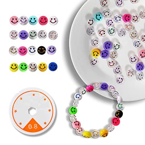200 cuentas Emoji para hacer pulseras,Cuentas de sonrisa, Abalorios para hacer pulseras,Fabricación de Joyas (Colores Aleatorios), epara niños de 4 5 6 7 años (Smiley Beads)