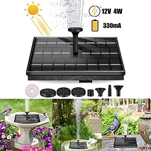 Bomba solar para fuente de baño de pájaro de 12 V, 4 W, fuente solar portátil flotante de bomba de agua solar con 6 boquillas para el jardín de piscina de estanque de baño de pájaros, 12000 mAh