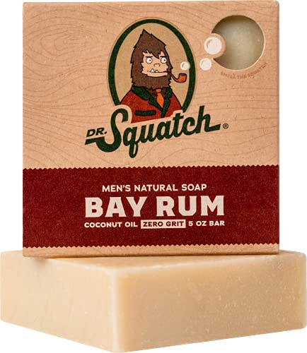 Bay Rum Soap by Dr. Squatch – Bar Soap for Men with Natural Scent, Bay Rum, Kaolin Clay, Shea Butter – Handmade with Organic Oils in USA