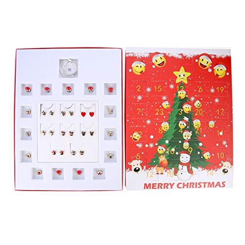 EFINNY Weihnachten Adventskalender Bom Countdown-Kalender mit DIY Zubehör Emoji Bolzenohrringsatz