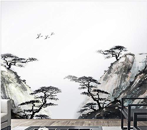 Terilizi Chinese 3D Inkt Landschap Schilderen Grote Schaal Woonkamer Sofa Tv Achtergrond Muurdecoratie Verwijderbare Verwijderde DIY Muursticker130X60Cm