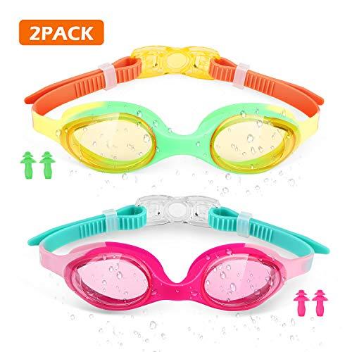 WOTEK Schwimmbrille Kinder 2 Stück,Schwimmbrillen Taucherbrille Set für Kinder 4-12 Jahre,Anti Nebel UV-Schutz Kein Leck,Größenverstellbar Swimming Goggles mit 4X Ohrstöpsel