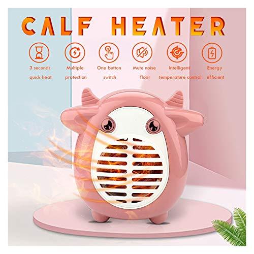Calentador eléctrico Mini Ventilador Calentador de Escritorio Mini Vaca Aspecto Calentador Temperatura Constante Temperatura Anti-Scalding Calentadores Conveniente Operación (Color : Rosado)