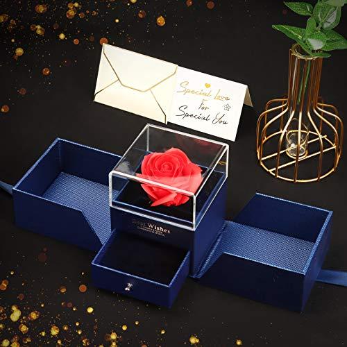 Minterest Rosenbox, Geschenkbox Ewige Rose Frauen Frau Freundin Rote Künstliche Rosen mit Valentinstag Karte Geschenkbox