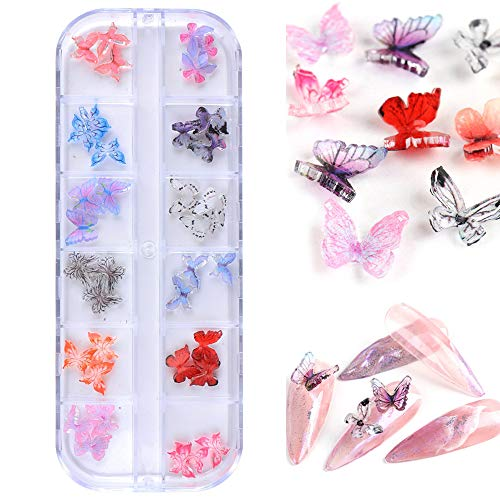 3D Resin Butterfly Nail Decorations Gold Blue Butterflies DIY Slices Charm Jewelry Decorations