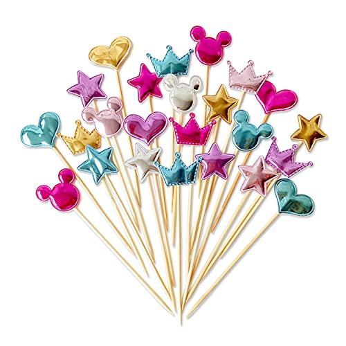 XGzhsa Cake Toppers, Heart Cake Toppers, 60 Pieces Various Shapes Cupcake Toppers Colorful Toothpick Cake Toppers Decorations for Parties (Gold, Blue, Pink, Rose Red, Silver)