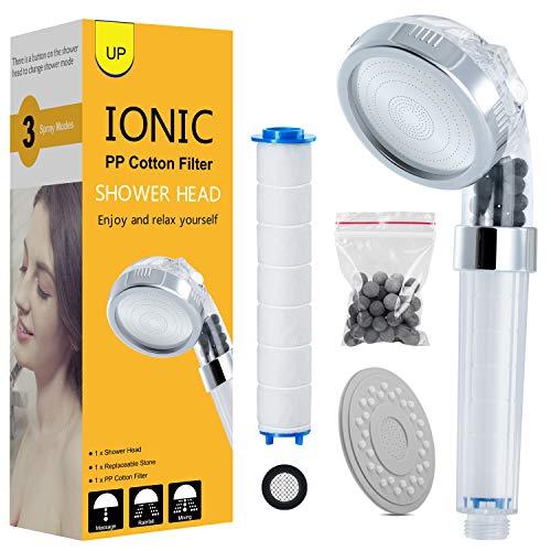 Duschkopf Handbrause wassersparend Handbrausen Filter Duschbrause Druckerhöhung, drei Modus Brausekopf für mehr Wasserdruck mit zwei PP Baumwollefilter