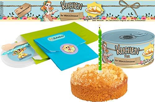Kuchen mit Wunschnamen einfach nur so | Kuchen in der Dose | Personalisiert mit Wunschnamen und Geschmack | Geschenk | Geschenkidee (Zitrone-Streusel, Blau)