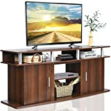 Tangkula Modern TV Stand for TVs up to 70 Inches, Living Room Console Table w/2 Cabinets & Open Shelves, Media Entertainment Center for 18 Inches Electric Fireplace (Not Included) (Cherry)