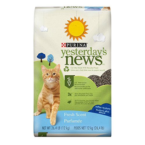 Purina Yesterday's News Non Clumping Paper Cat Litter, Fresh Scent Low Tracking Cat Litter - 26.4 lb. Bag