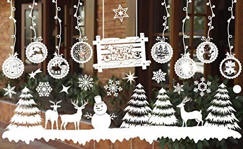 Asvert Fiocco di Neve Casa di Natale Babbo Natale e Cervi con Regali Adesivi per finestre PVC Adesivi per finestre Facile da installare e Applicare Adesivo Decorativo Fai da Te (Bianca 7)