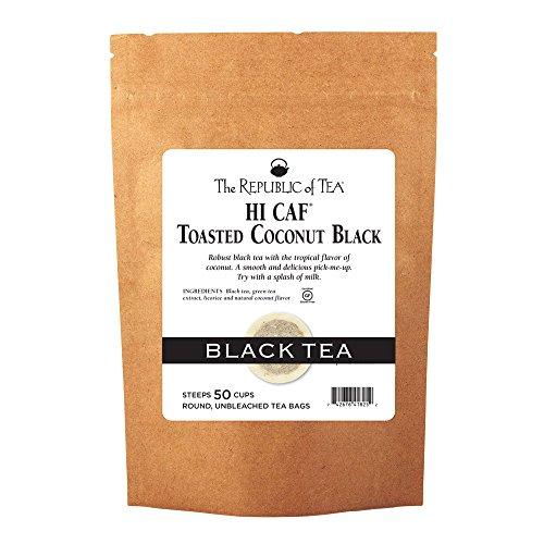 The Republic Of Tea HiCAF Toasted Coconut Black Tea, 50 Tea Bags, High-Caffeinated Gourmet Herbal Blend