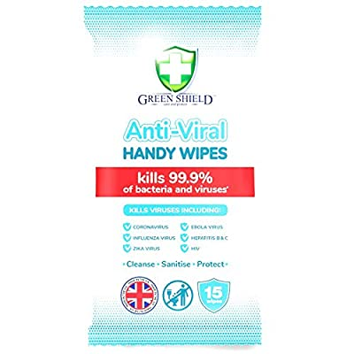 Green Shield Anti-Viral Handy Wipes - Pack of 15 from GreenShield