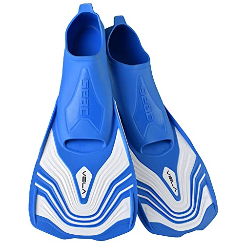 SEAC uniseks Vela OH, nurkowanie i pływanie basen krótkie płetwy z regulowanym paskiem, jasnoniebieski, 7/7,5 UK