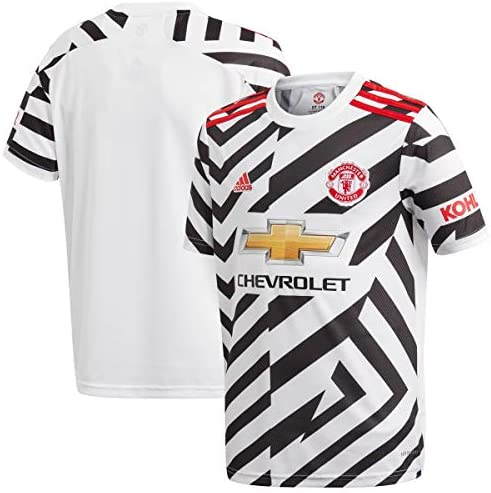 adidas 2020 21 Manchester United Youth Third Jersey White Black Red YS product image