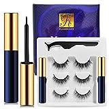 Magnetic Eyelashes with Eyeliner 3 Pairs Reusable Fake Eyelashes No Glue 2 Only Magnetic Eyeliner 3D eyelash sets (Charming Blue)