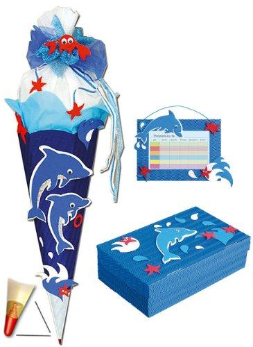 alles-meine.de GmbH stabile Spitze - aus Kunststoff - für BASTELSET Schultüte - Delfin Fisch 85 cm + Schulbox + Stundenplan - Zuckertüte Roth - Mädchen Jungen Fische Delfine Unte..