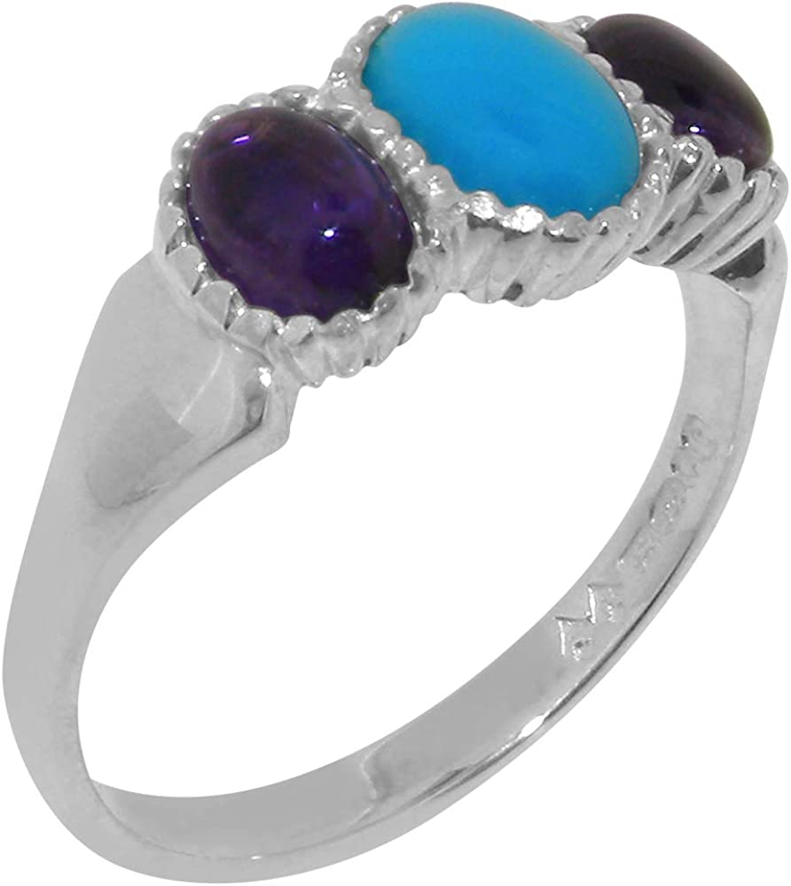14k White Year-end gift Minneapolis Mall Gold Natural Turquoise Amethyst Womens Ring Trilogy