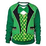 EUCoo Uomo T Shirt St. Patrick's Day Felpa con Motivo Trifoglio Verde Manica Lunga O Colletto Modelli di Coppia Camicia Tops(verde2,XX-Large)