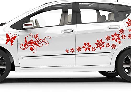 GRAZDesign Autoaufkleber Blumen Schmetterlinge, Auto Tattoos Floral, Set auf Blatt 57x57cm / 070 schwarz
