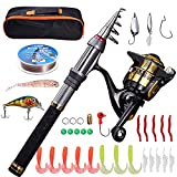 Fishing Pole kit-Telescopic Fishing Rod and Reel Combo with Fishing Line,Fishing Lures kit&Portable Carrier Bag-Collapsible Fishing Rods for Beginner Adults Travel Saltwater Freshwater