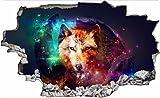 Wolf Abstrakt Bunt 3D Look Wandtattoo 70 x 115 cm Wanddurchbruch Wandbild Sticker Aufkleber DesFoli © C069