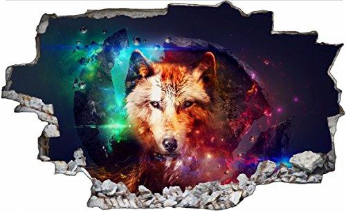 DesFoli Wolf Abstrakt Bunt 3D Look Wandtattoo 70 x 115 cm Wanddurchbruch Wandbild Sticker Aufkleber C069