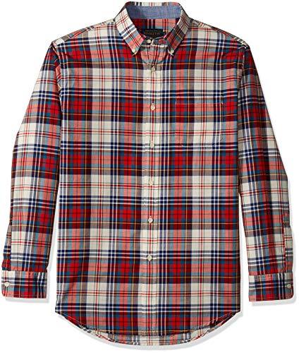 Pendleton Herren Long Sleeve Madras Shirt Button Down Hemd, Blau/Rot/Elfenbein, Klein