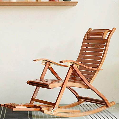 TOPYL 5-Speed Adjustment for Office Outdoor,Foldable Bamboo Recliner with Footrest,Solid Wood Rocking Chair