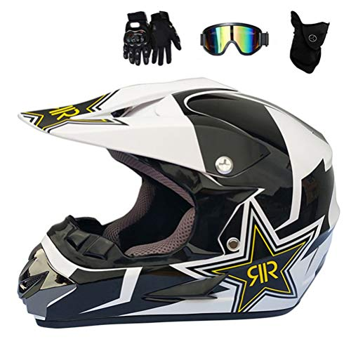 MRDEAR Adulto Motocross Casco MX Moto Casco Off-Road ATV Scooter Casco Cross Eduro D.O.T Certificado Rockstar Gafas Máscara Guantes (S, M, L, XL),XL
