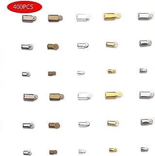 Forise 400pcs Crimp Cord Ends Antique Bronze/Gold/Silver/Gun Black/Rhodium Leather Cord Ends Caps Clasps Connectors for Jewelry MakingNecklaces Bracelets