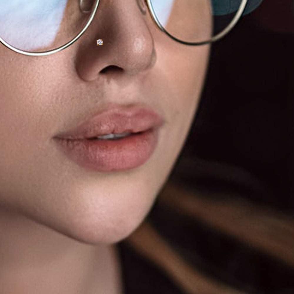 14K Yellow Gold Prong Set Round CZ Stone 20 Gauge Nose Bone Nose Stud Piercing Jewelry