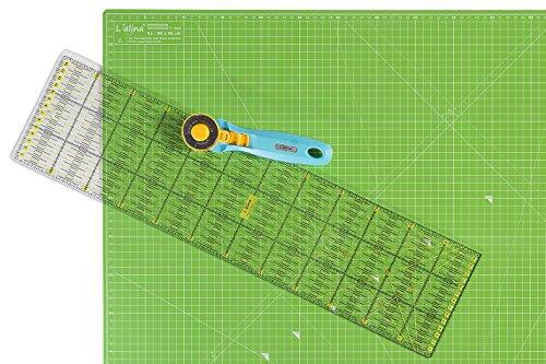 Lialina® / A1 Schneidematte 60 x 90 cm+ Patchwork Lineal 15 x 60 cm + Rollschneider