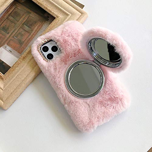 Plush Case for iPhone 11 2019 6.1 with Magnetic Detachable Mirror Kickstand, Women Girls Mirror Hidden Makeup Cover Cute Rabbit Fur Plush Furry Fuzzy Soft Winter Warm Phone Cases,Pink