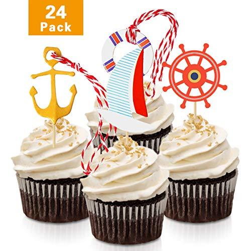 fishmm Nautische Anker Cupcake Topper Kuchen Dekoration f�r Baby Dusche, Geburtstag party-Accessoires, 24piece
