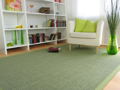 Astra Sisal Teppich Manaus mit Bordüre Farbe heu kiwi grün 100% Sisal - 18 Größen, Größe: 300x400 cm