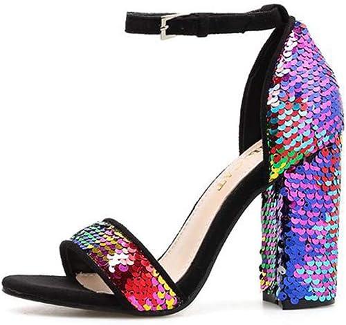 YAN Les Femmes Talons Hauts New Summer Suede Boucle Sequin Chaussures Sandales à Talons Hauts Peep Toe Pompes Mariage Party Robe de soirée Chaussures,A,39