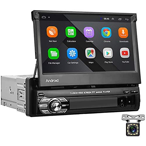 Android 1 DIN Car AutoRadio GPS CAMECHO 7 'Pantalla táctil capacitiva desplegable Bluetooth Radio FM Navegación WiFi Enlace Espejo para teléfono Android iOS + Cámara de visión Trasera 2 + 16G