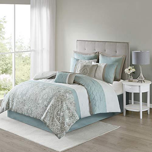 "510 DESIGN Cozy Comforter Set - Transitional Damask Design, All Season Down Alternative Bedding with Matching Shams, Decorative Pillow, Shawnee-Seafoam Queen(90""x90"") 8 Piece"