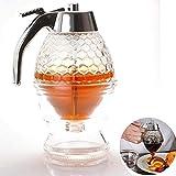 Dispensador de miel jarabe de acrílico jugo de miel abeja botella de goteo contenedor copa herramienta de hornear sin goteo flujo moderado (200 ml)