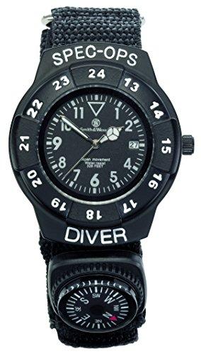 Smith and Wesson Erwachsene Smith & Wesson Special Ops Set, Armbanduhr mit Nylon-Armband, und Kompass sowie Einhandmesser, WEEE-Reg-Nr. DE93223650 Uhren, Mehrfarbig, 30.5 cm