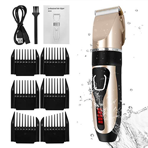 Cordless Mens Haircut Machine, Professional Hair Clippers Electric Grooming Trimmer Set Rechargeable Hair Cutting Kits for Barber Kids Baby Father's Day, Golden