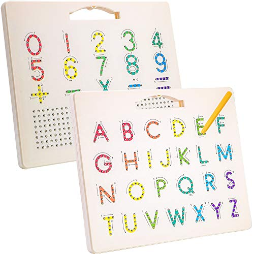Hautton Tablero Magnético de Abecedario para Niños, Escritura 26 Letras Mayúsculas/10 Números/5 Signos Cálculo, Juguete Educativo Aprendizaje Temprano Escritura de Alfabeto para Pequeños Preescolares