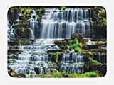 Ambesonne Rainforest Bath Mat, Waterfall in The Middle of Tropical Jungle Natural Scenery Countryside Style, Plush Bathroom Decor Mat with Non Slip Backing, 29.5' X 17.5', Green White