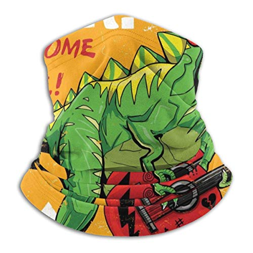 senob Cool dinosaurus spelen gitaar tekenen illustratie t-shirt print grafisch ontwerp comfortabele fleece hals warmer balaclava kap