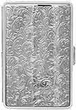 Silver Vintage Victorian Print Compact (16 100s) Metal-Plated Cigarette Case & Stash Box