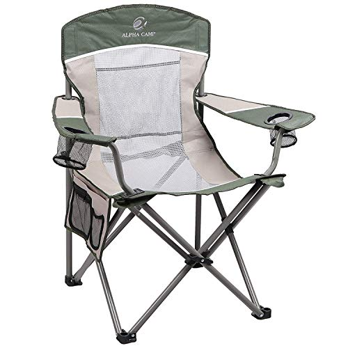 ALPHA CAMP Oversized Mesh Back Camping Folding Chair Heavy Duty Support 350 LBS Collapsible Steel Frame Quad Chair Padded Arm Chair with Cup Holder Portable for Outdoor (Green)