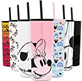 Simple Modern Disney Character Insulated Water Bottle Tumbler with Straw Lid Reusable Stainless Steel Wide Mouth Travel Cup, 24oz, Minnie on Blush